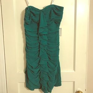 Emerald Strapless Chiffon Semi-Formal Dress
